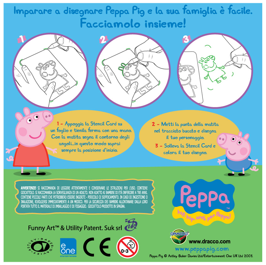 Stencil Cards Funny Art Peppa Pig